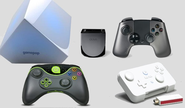 Android Gaming Consoles Ouya, Gamestick, Gamepop, Green Throttle